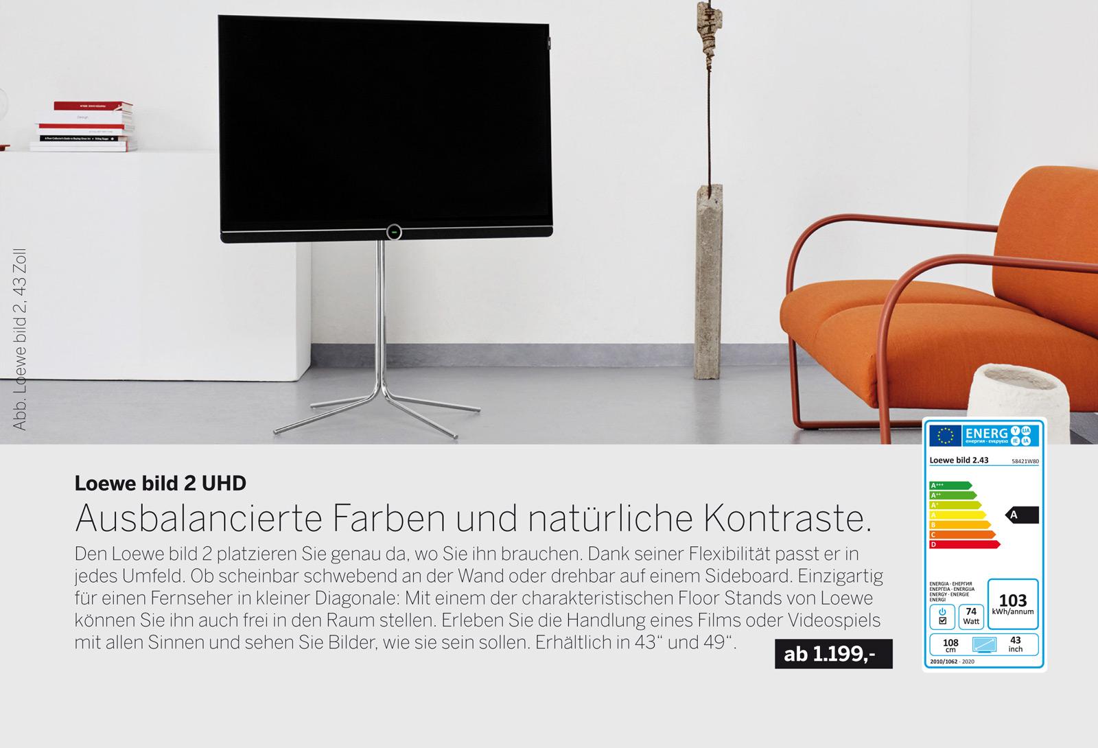 Loewe bild 2 UHD Fernseher. Brillante Bilder, authentische Farben, individualisierten Sound, Multimedia-Streaming in Perfektion & flexible Aufstelllösungen.