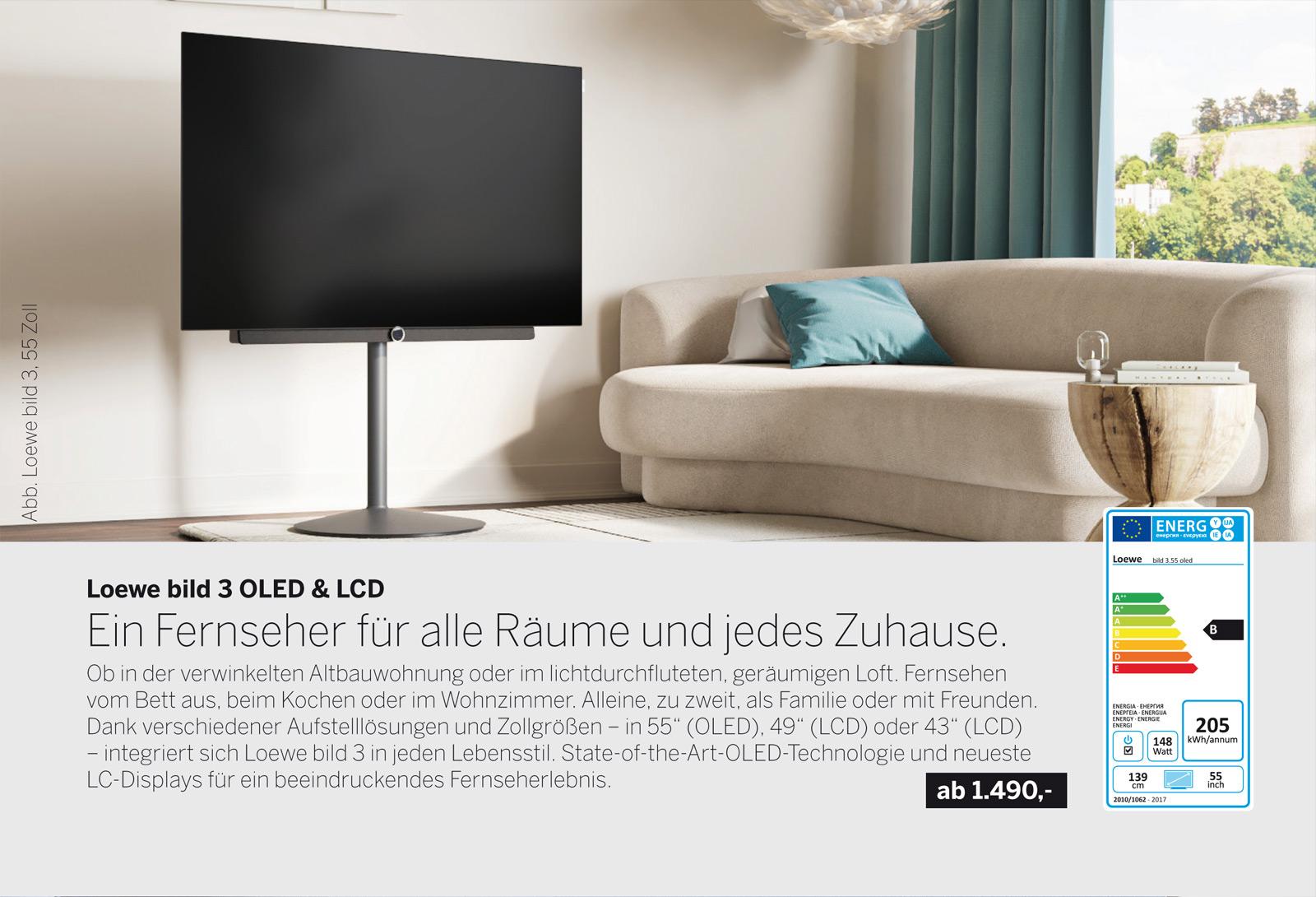Loewe bild 3 UHD Smart TV mit OLED oder LCD. Gestochen scharfe Details, perfekte Kontraste & Farbbrillanz, eindrucksvolles Design. Loewe bild 3 - Fernseher für alle.